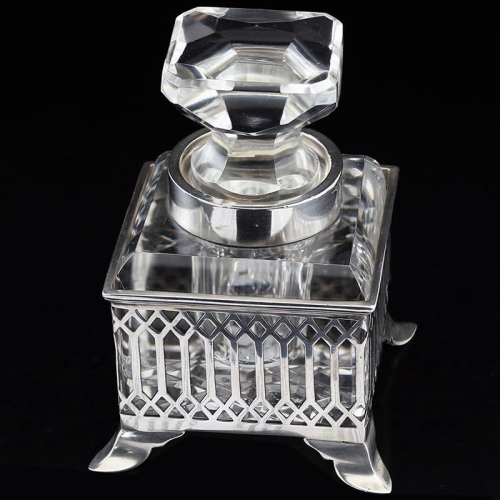 1914 crystal inkwell in sterling silver stand
