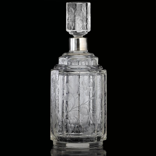 c.1910 engraved crystal decanter, silver plate collar