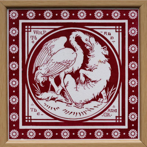 """c.1880 Mintons Aesop's Fable tile """"Wolf and the Crane"""", framed"""