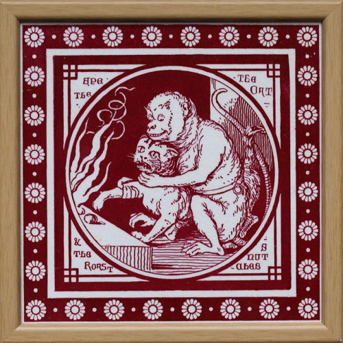 """c.1880 Mintons Aesop's Fable tile """"Ape and the Cat"""", framed"""