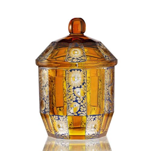 c.1910 Steinschönau blue & amber flashed & engraved bowl & cover