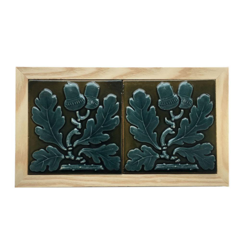 """Pair of c.1870 Maw & Co. 3"""" Acorn Tiles, Framed"""