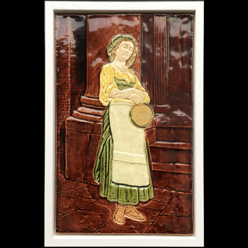 c.1900 relief moulded porcelain plaque with street dancer, framed