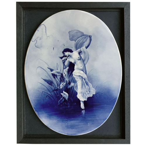 Late C19th blue and white porcelain plaque signed S. Taylor, possibly Royal Doulton, framed