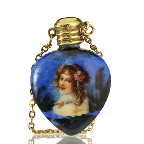 c.1900 miniature porcelain scent perfume bottle with portrait