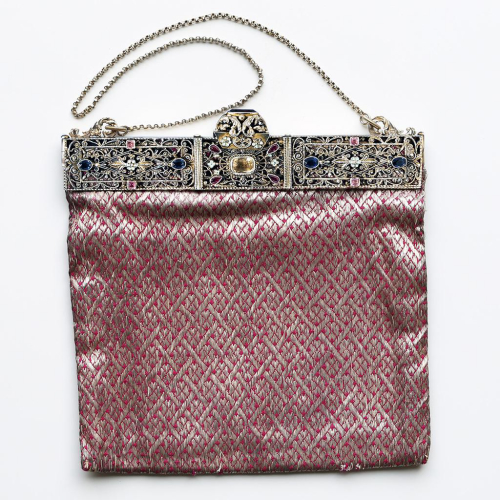 1929 jewelled 925 sterling silver frame and Lamé evening bag