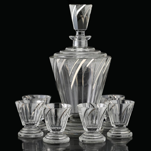 c.1930s Czech Deco textured & silvered decanter & glasses set