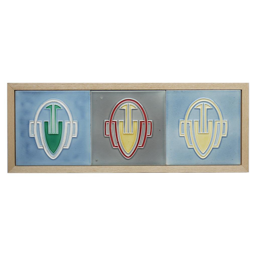 c.1910 Georg Bankel Modernist Three Tile Set, Framed