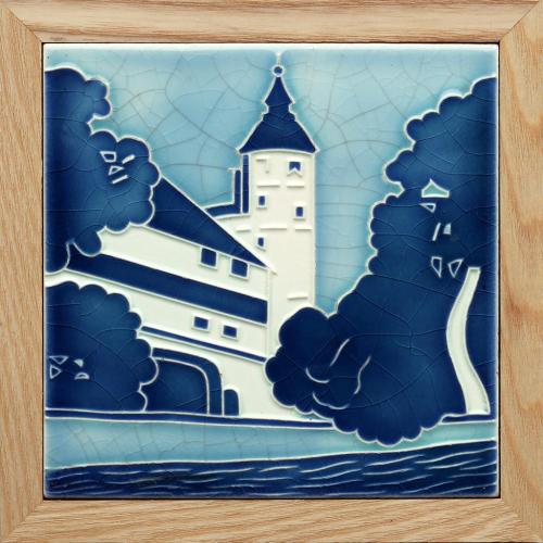 c.1905 Art Nouveau castle tile, Wessel Germany, framed
