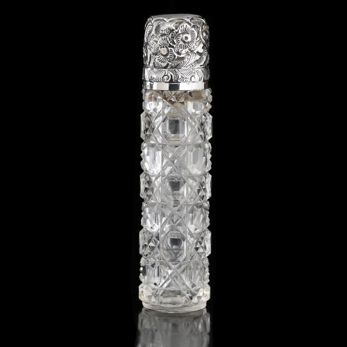 1897 cut crystal scent perfume bottle, silver top