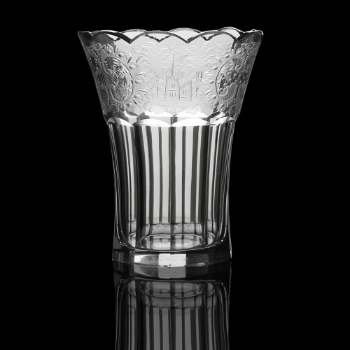 c.1920s Engraved Crystal Vase, Signed Egermann Haida