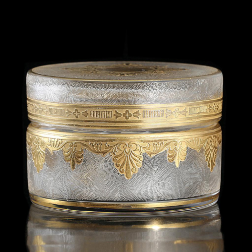 c.1910 Gilded Crystal Pot & Cover, St. Louis, France