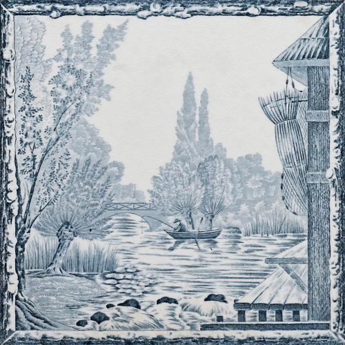 c.1880 Boulenger & Cie. River Scene Tile, Framed