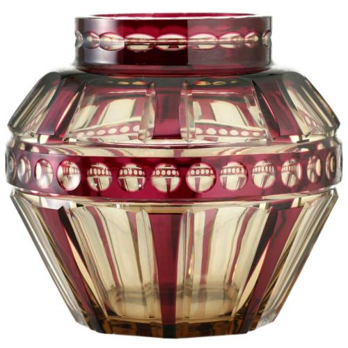 c.1930s Val St. Lambert Amethyst Over Topaz Zinia Crystal vase #3, Joseph Simon