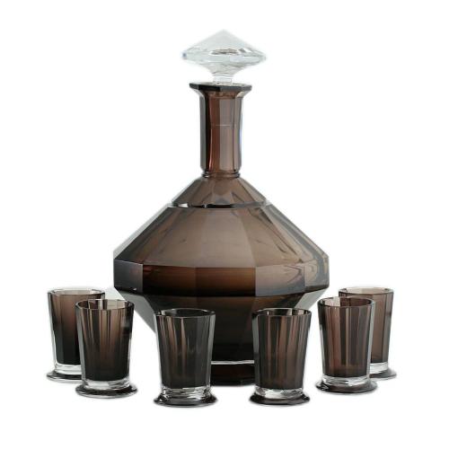 c.1930s Val St. Lambert Deco Plum & Clear Crystal Decanter w/ Six Glasses