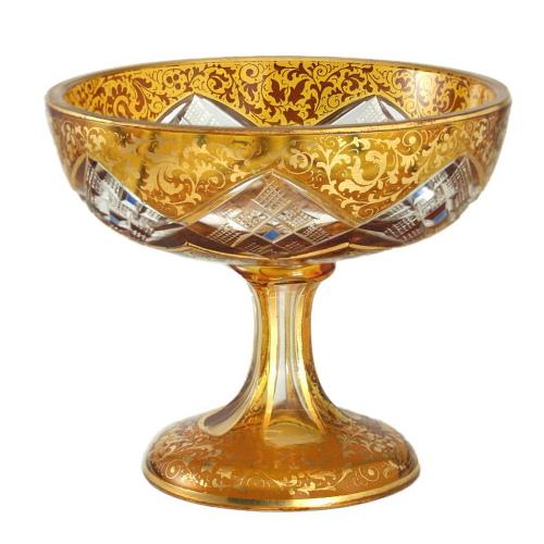 c.1900 Small Flashed Amber Cut & Gilded Footed Bowl, Josephinenhütte
