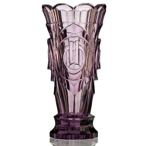 c.1950s Moser Sculptural Moulded & Cut Crystal Lilac Vase, Zadikow or Eschler