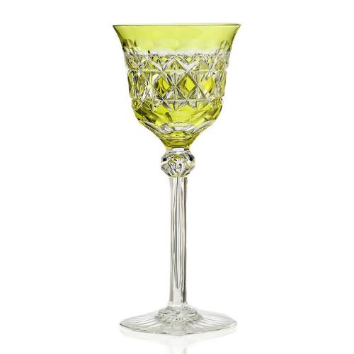 c.1920 citrine overlay crystal wine glass, Siegfried Haertel Josephinenhütte