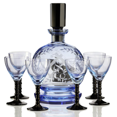 c.1950s Retro Blue Glass Engraved Decanter & Six Glasses