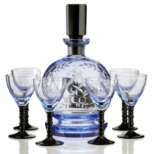 c.1950s Retro Blue Glass Engraved Decanter & Six Glasses