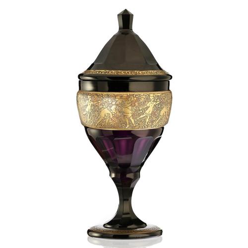 c.1910 Haida Amethyst Glass Lidded Vase with Oroplastic Fipop Frieze