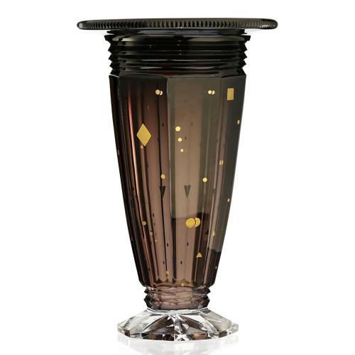 c.1930s Val St. Lambert Art Deco Cased Brown Tint Crystal Ardennes Vase