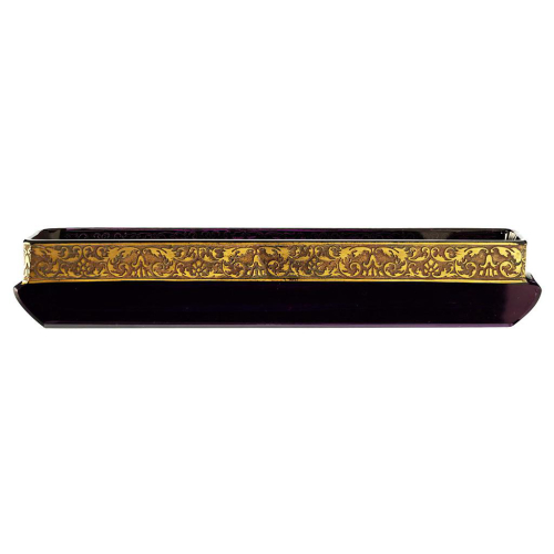 c.1920s Moser Karlsbad amethyst crystal trinket tray with gilt frieze