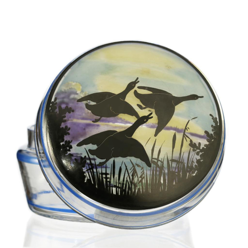 c.1930s Deco Dressing Table Glass Pot & Cover with Flying Ducks