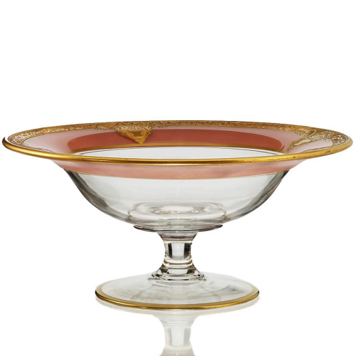 c.1920s Pink Gilded Glass Tazza Compote, Probably St. Louis France