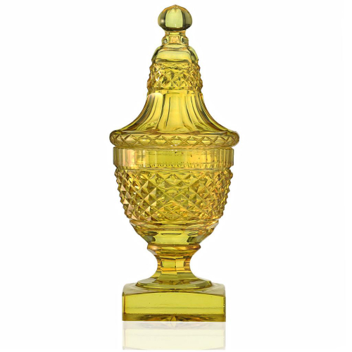 c.1850 amber Neo-classical crystal urn & cover, probably Waterfords