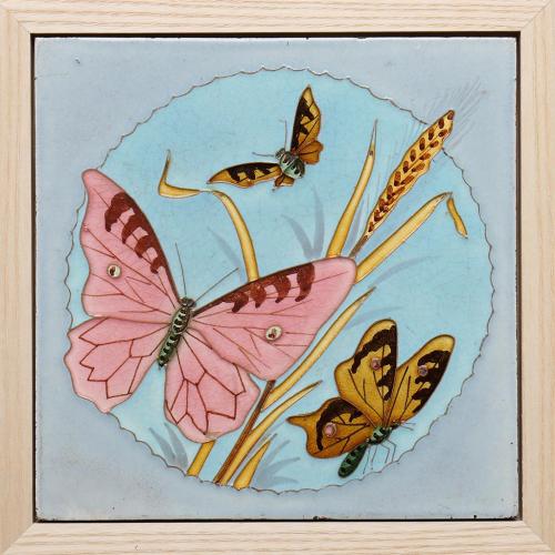 c.1900 Saint Amand & Homage Nord French Art Nouveau butterflies tile, framed