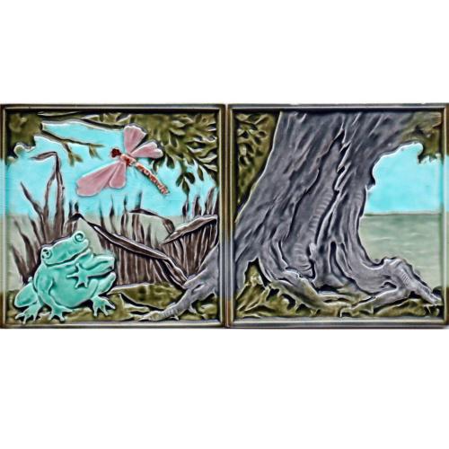 Rare c.1900 M.O.&P.F. German Art Nouveau Frog & Tree two tile set, framed