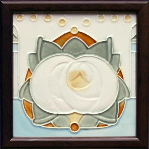 c.1905 Belca Belgium Art Nouveau tile, framed
