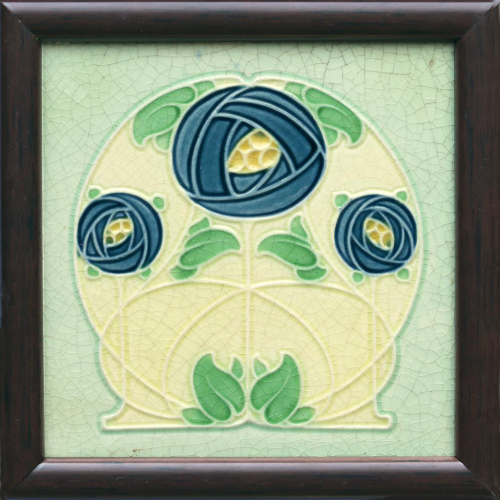 c.1900 English Art Nouveau tile in the manner of Rennie Mackintosh, framed