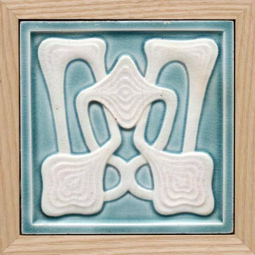 c.1910 Villeroy & Boch Modernist Tile #2, Framed