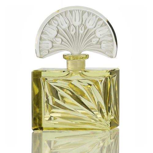 c.1930s Czech Deco citrine cut glass scent bottle & stopper