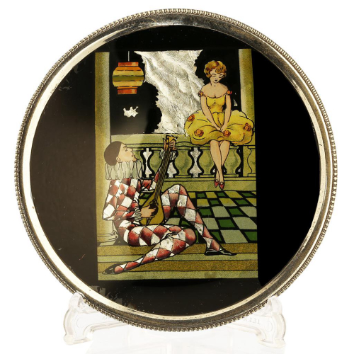c.1930s Deco white metal trinket dish with lustre scene under glass