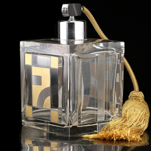 c.1930s Czech Deco Crystal Scent Perfume Spray Atomizer