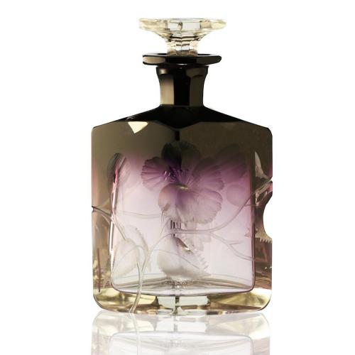 c.1905 Moser Karlsbad intaglio engraved amethyst crystal scent perfume bottle #3