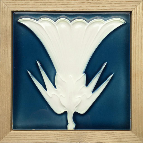 c.1900 Tonwek Offstein Art Nouveau Tile, Framed