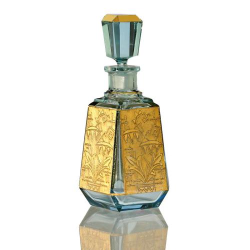 c.1930s Czech Deco aqua blue and gilt glass scent perfume bottle