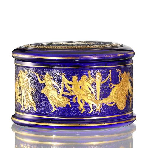 c.1930s Val St. Lambert Danse de Flore Cobalt Glass Box & Cover