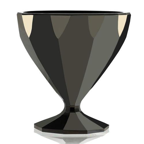 c.1930s Rare Val St. Lambert Hyalith Black Crystal Vase
