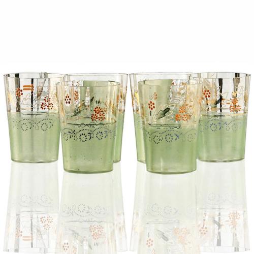 c.1930s Six Enamelled Juice or Water Glasses Set