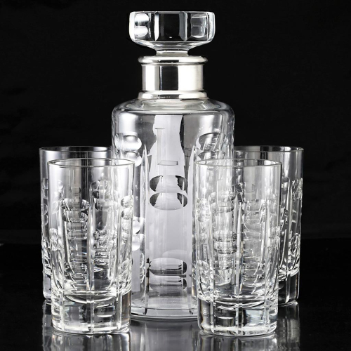 c.1950s Engraved Crystal Decanter w/ Sterling Collar, Four Glasses