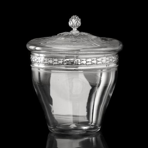 c.1920s French Engraved Crystal Barrel Bowl & Cover, 950 Silver Mounts
