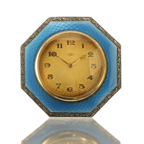 1925 sterling silver & guilloche 8 day Swiss made desk clock