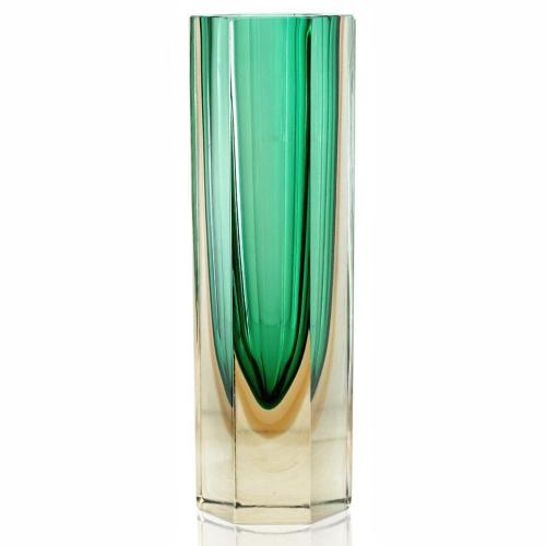 Murano Sommerso Green & Yellow Block Vase