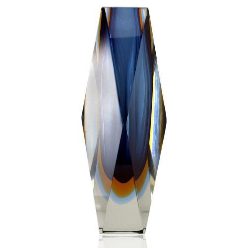 c.1960s-70s Murano Sommerso triple cased block vase, probably Seguso