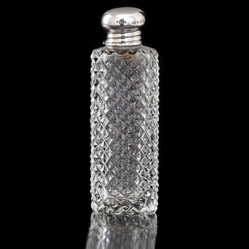1898 Cut Crystal Scent Perfume Bottle, Silver Top